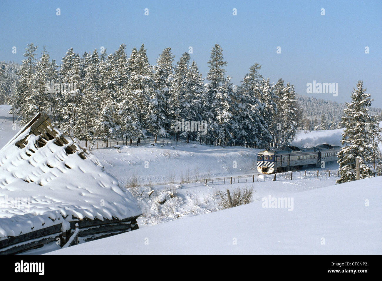 The BC Rail 'Prospector' train travelling through the Cariboo Region, British Columbia, Canada - Stock Image