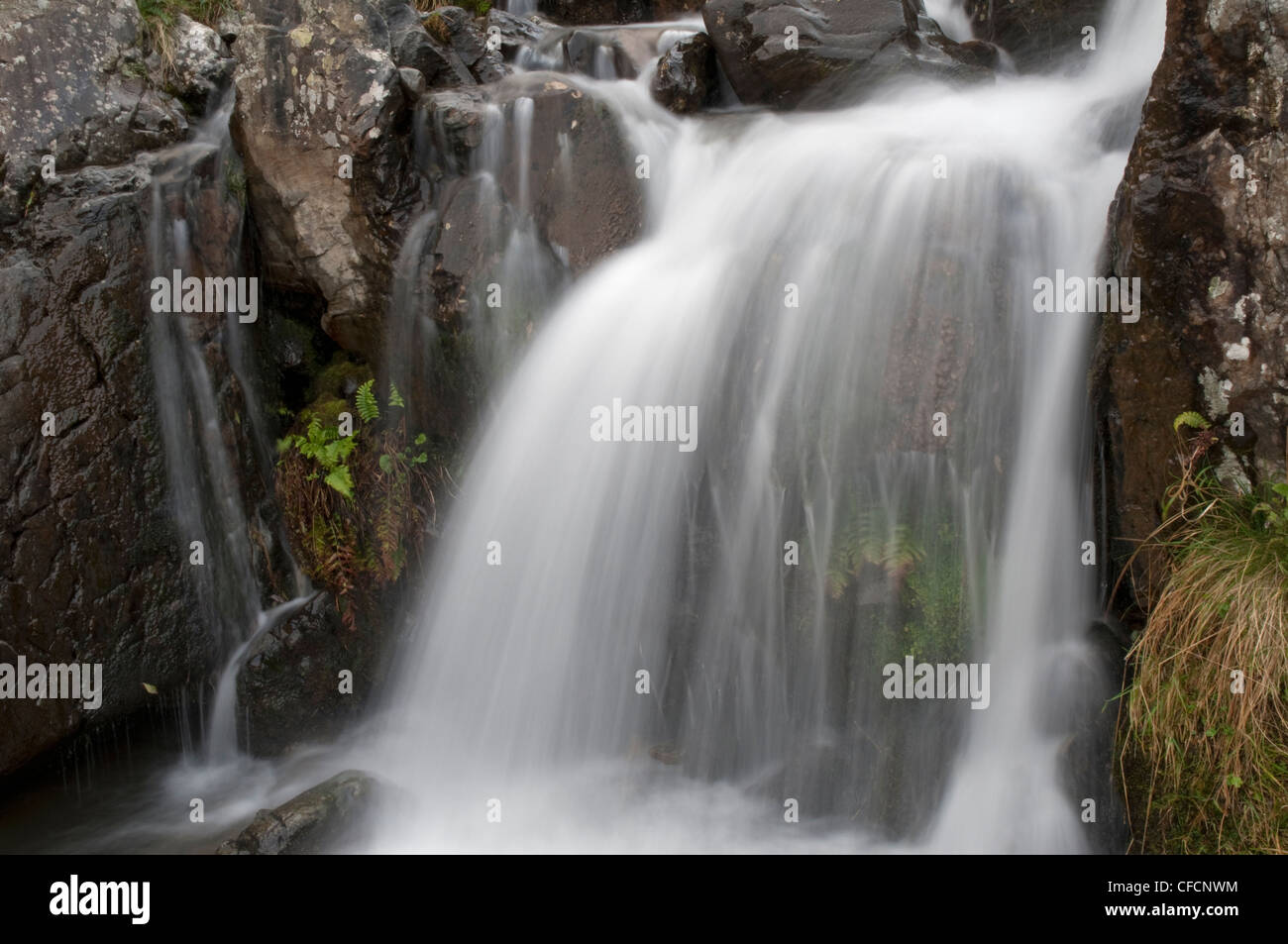 Detail of waterfall below Cautley Spout in the Howgill Fells Cumbria - Stock Image
