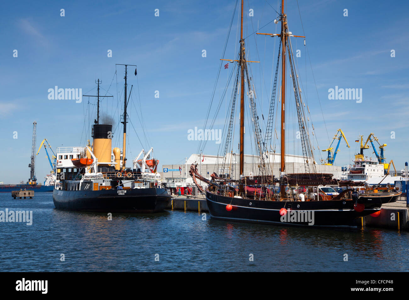 Ships in the harbour, Wismar, Baltic Sea, Mecklenburg Western-Pomerania, Germany - Stock Image