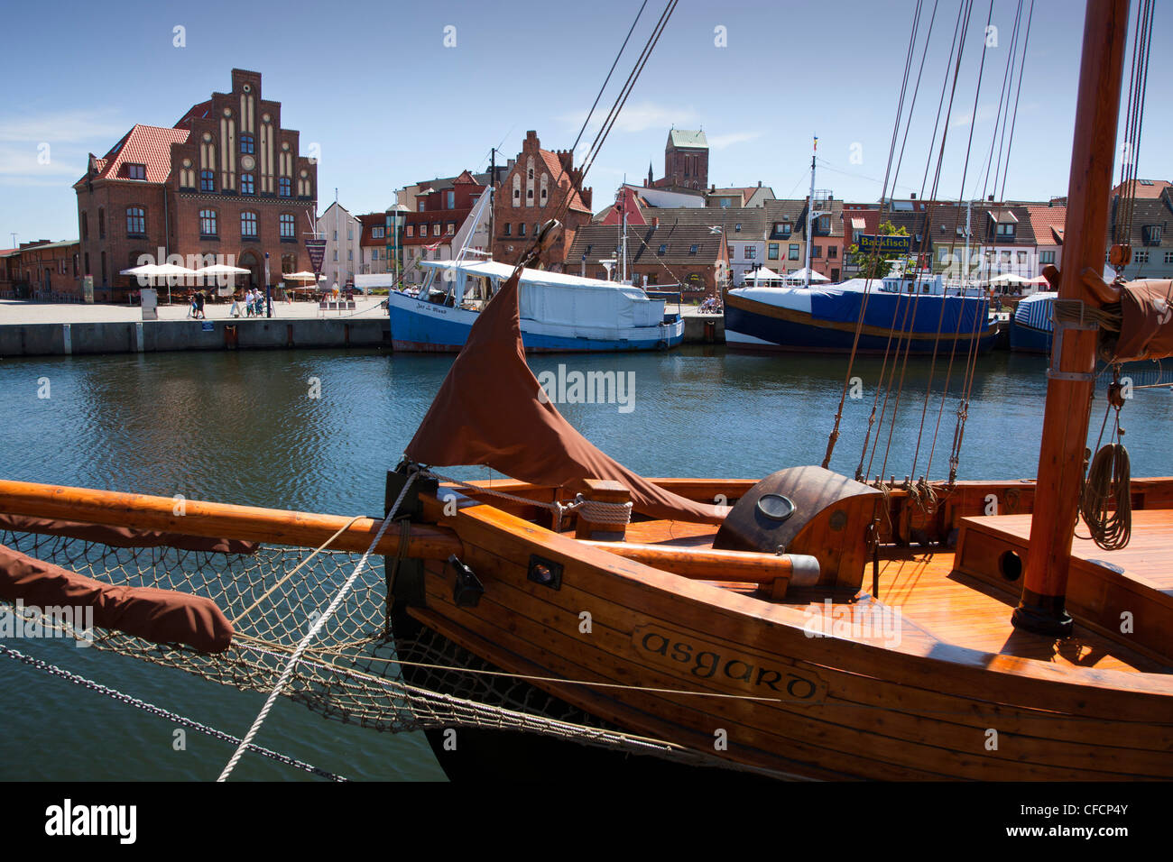 Ships at the harbour, Wismar, Baltic Sea, Mecklenburg Western-Pomerania, Germany - Stock Image