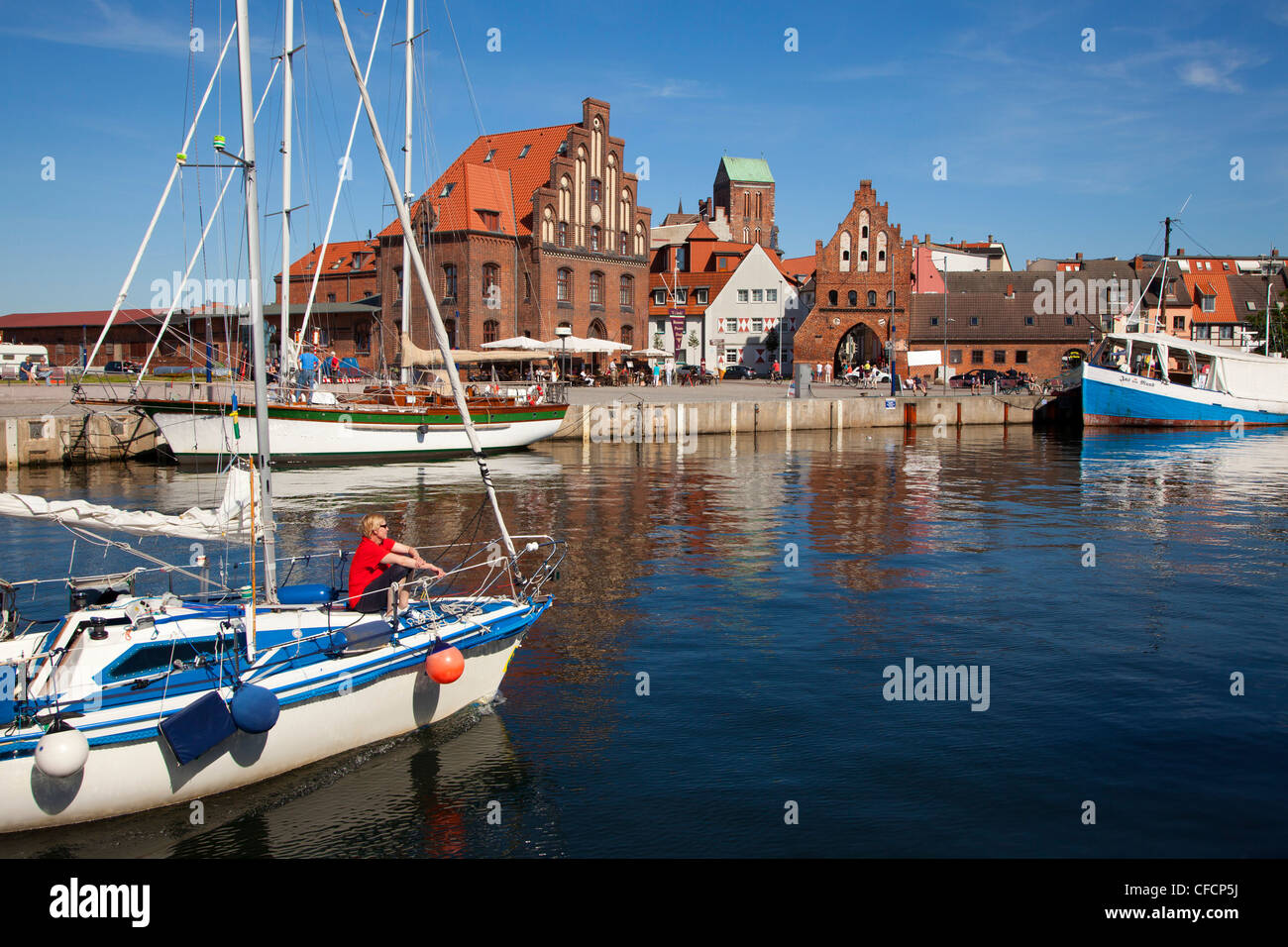 Sailboat at the entrance of the harbour, Wismar, Baltic Sea, Mecklenburg Western-Pomerania, Germany Stock Photo