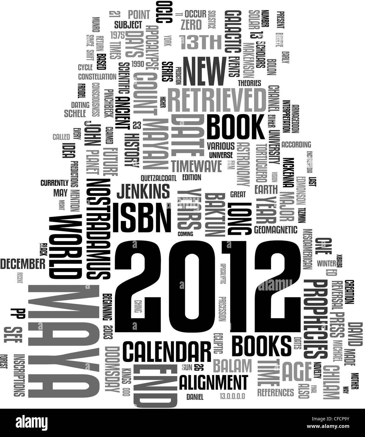 2012 Maya calendar word cloud - Stock Image