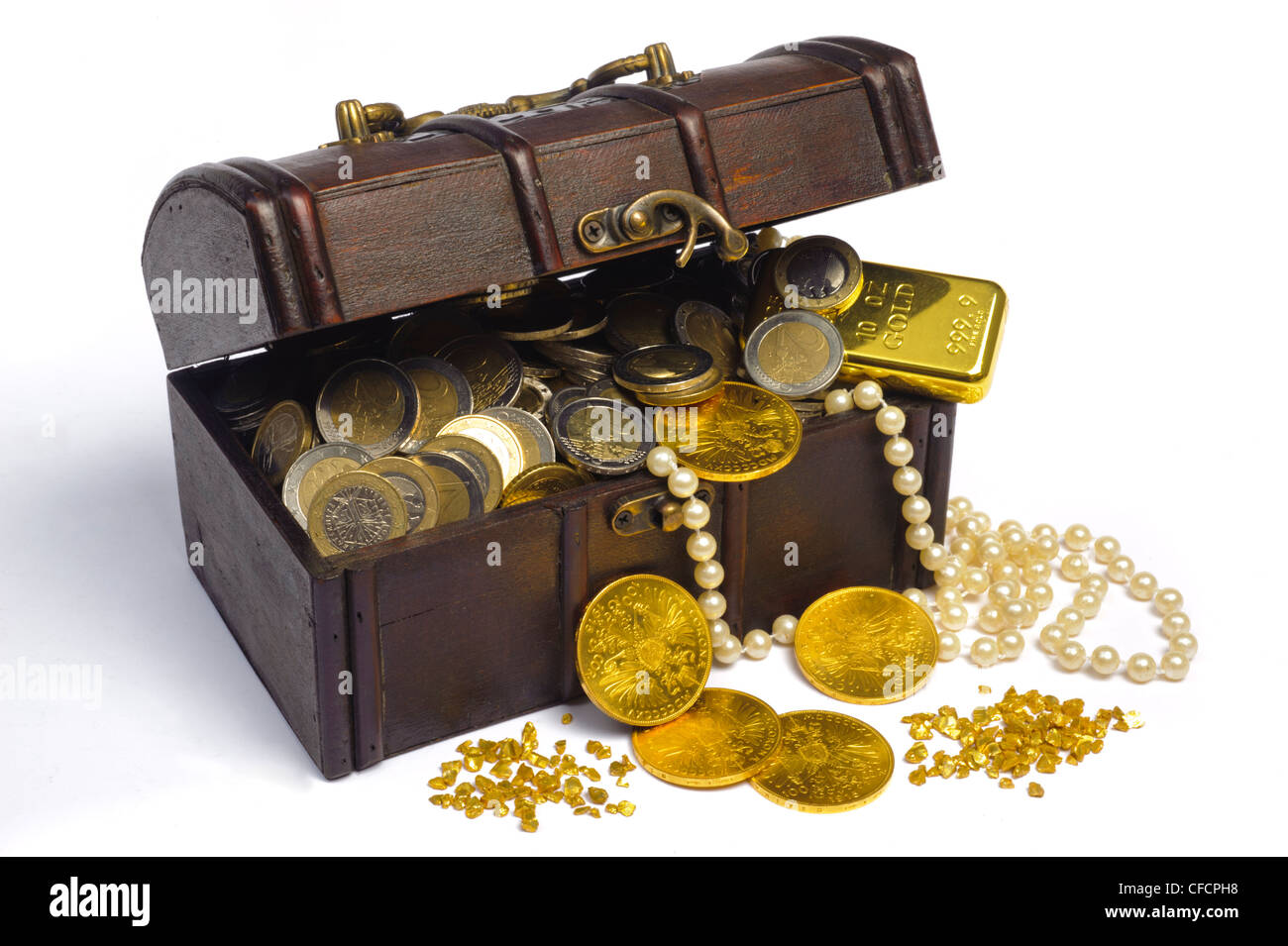 treasure chest with euro money and gold - Stock Image