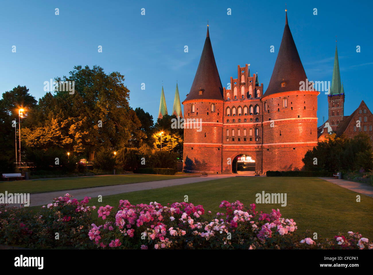 Holsten Gate, St Mary´s church and church of St Petri, Hanseatic city of Luebeck, Baltic Sea, Schleswig-Holstein, - Stock Image