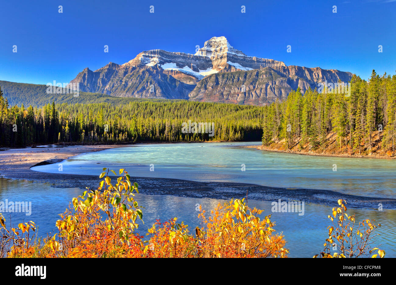 Mt Christie and Athabasca River, Jasper National Park, Alberta, Canada - Stock Image
