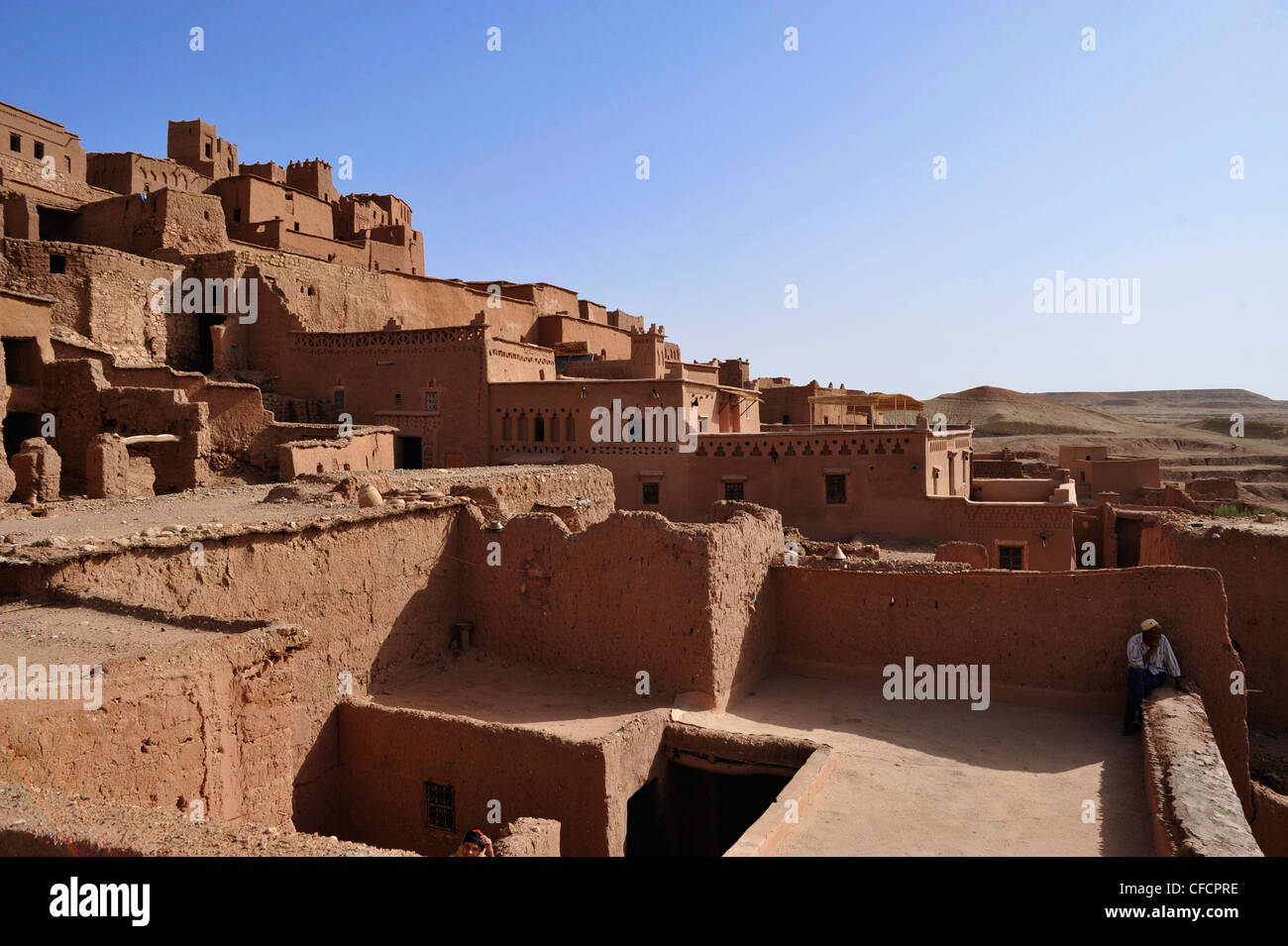 View above the flat roofs kasbah ait benhaddou ait benhaddou atlas mountains