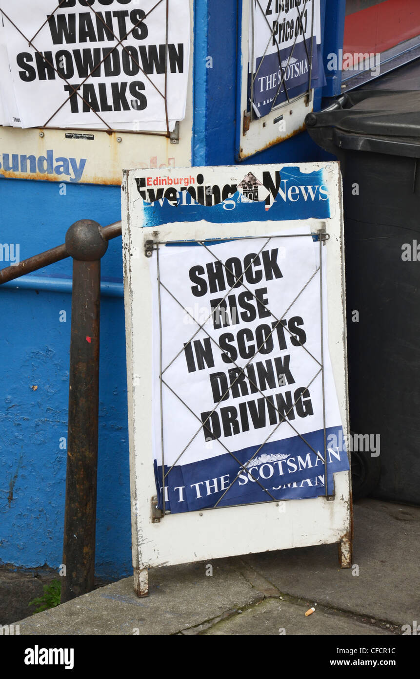 Newspaper billboard story on the shock rise in Scots Drink Drivers. - Stock Image