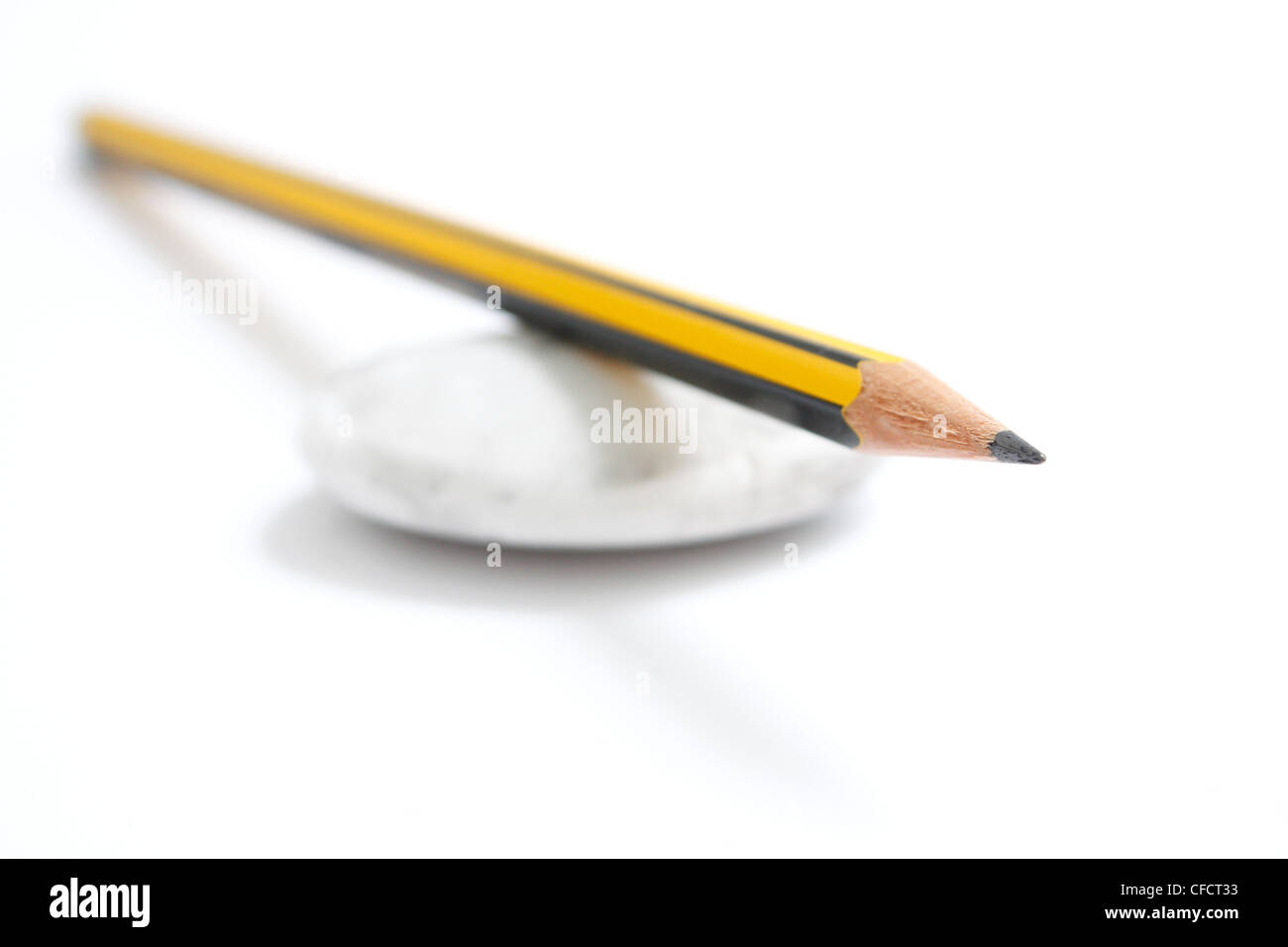 Pencil and rubber - Stock Image