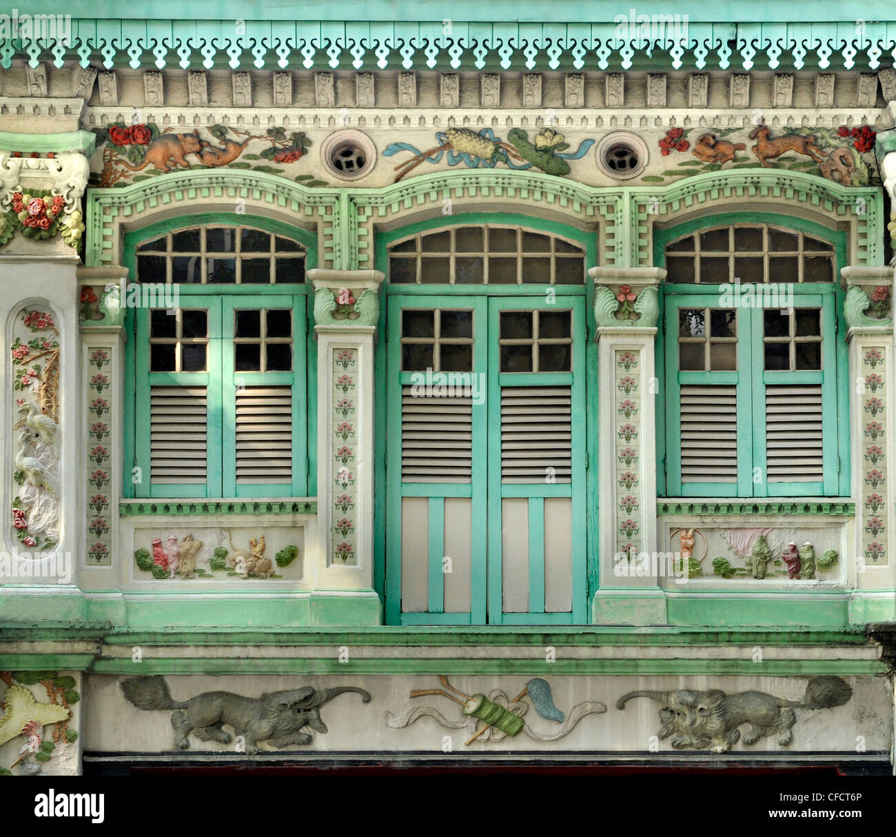 Facades of shophouses in Kichener Road, Singapore, Southeast Asia, Asia - Stock Image