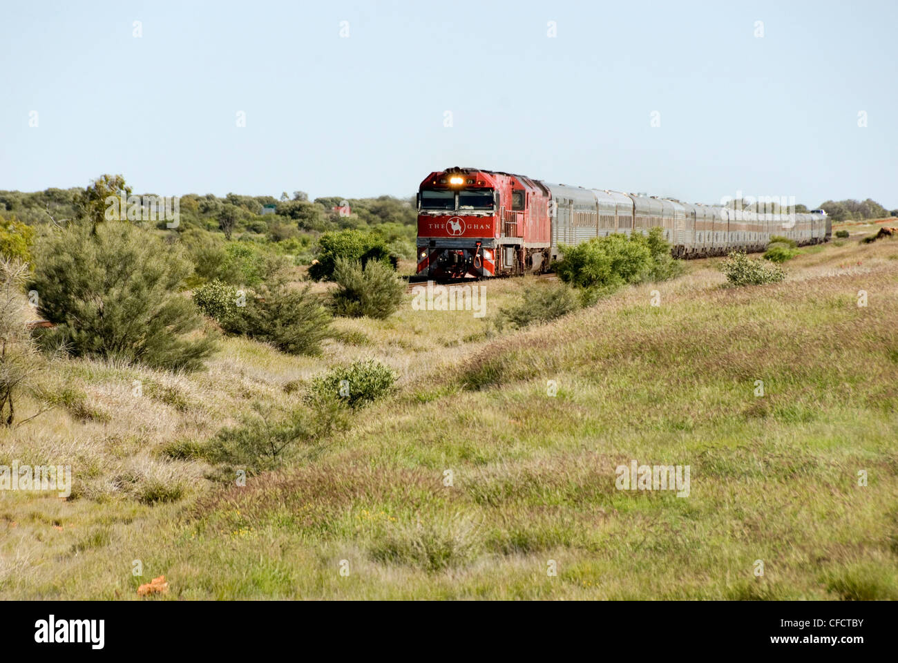 Ghan train southbound near Alice, Northern Territory, Australia, Pacific - Stock Image