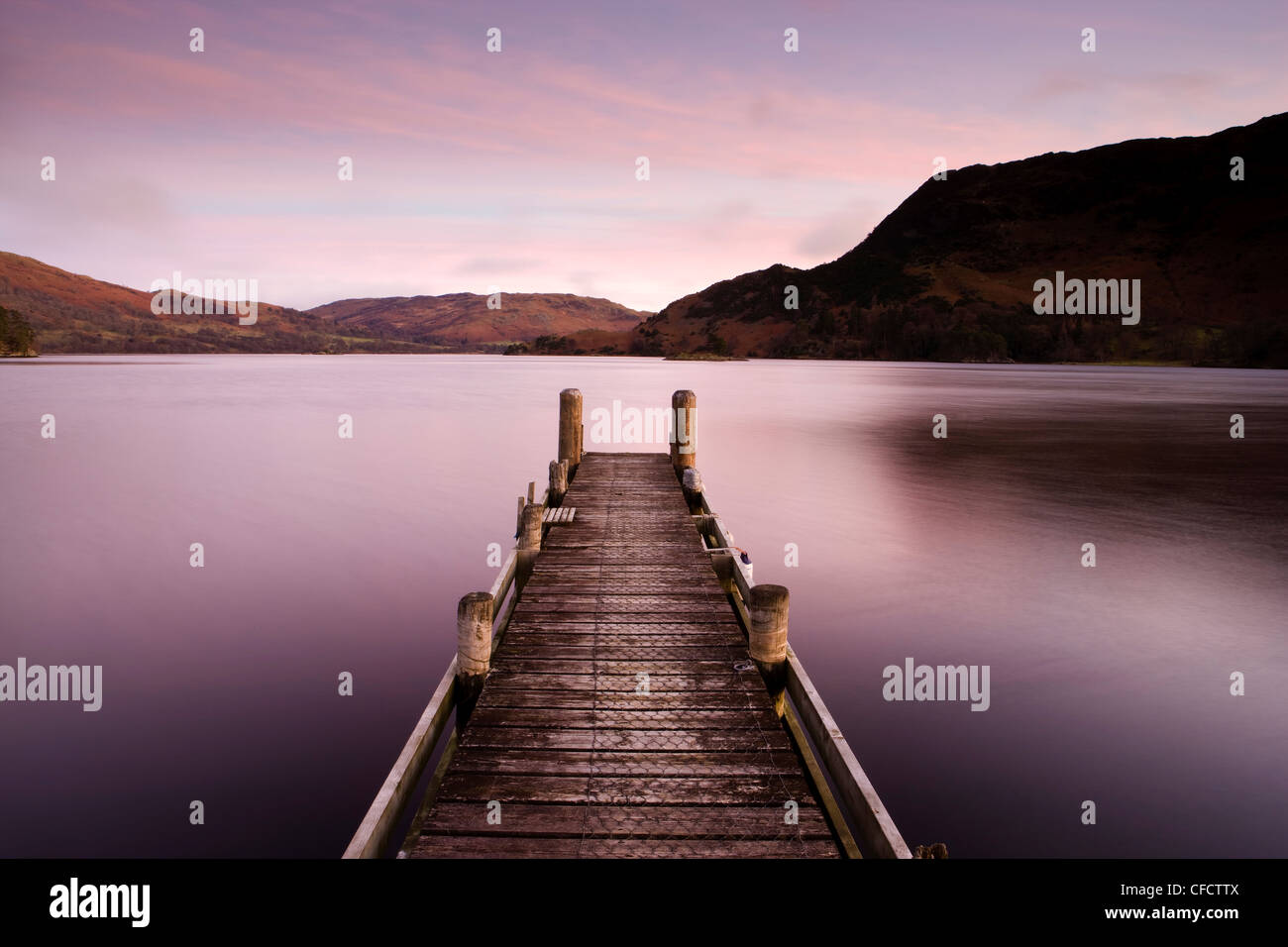 d6be1686d4 Jetty on Ullswater at dawn, Glenridding Village, Lake District National  Park, Cumbria,