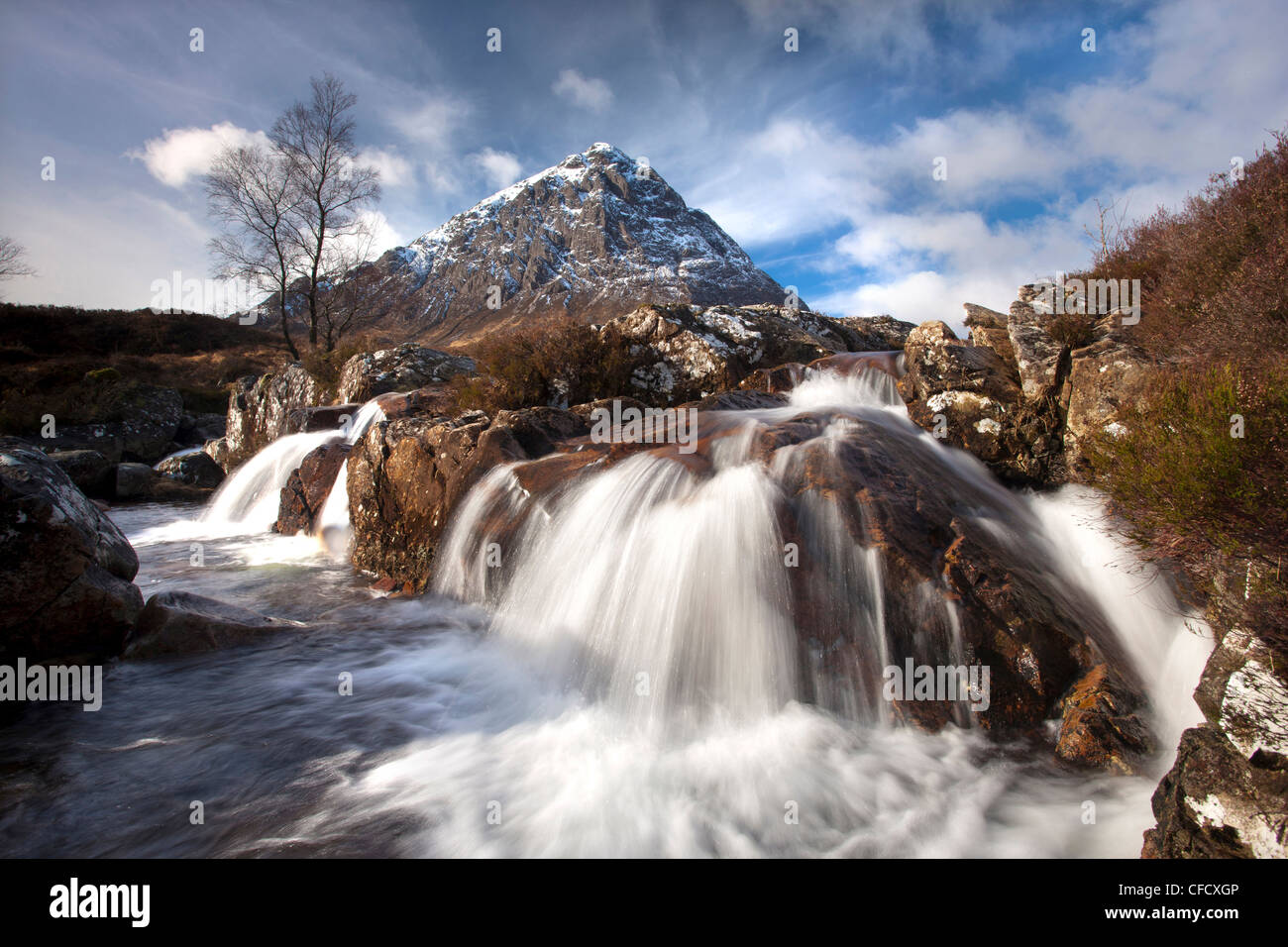 Winter view of Buachaile Etive More from the Coupall Falls on the River Coupall, Glen Etive, Highlands, Scotland, - Stock Image