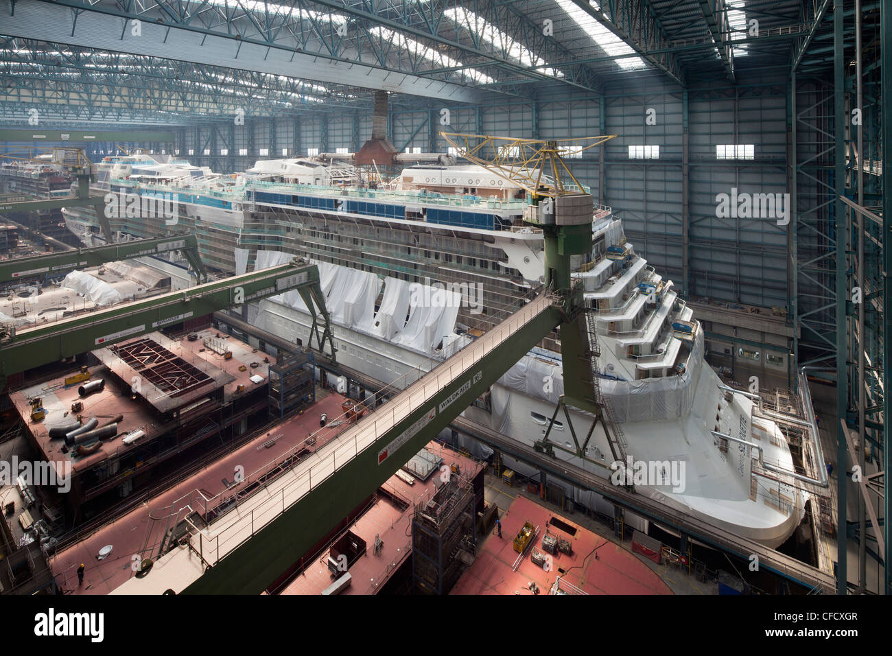 Cruiser under construction in dry dock, Meyer Werft, Papenburg, Lower Saxony, Germany Stock Photo