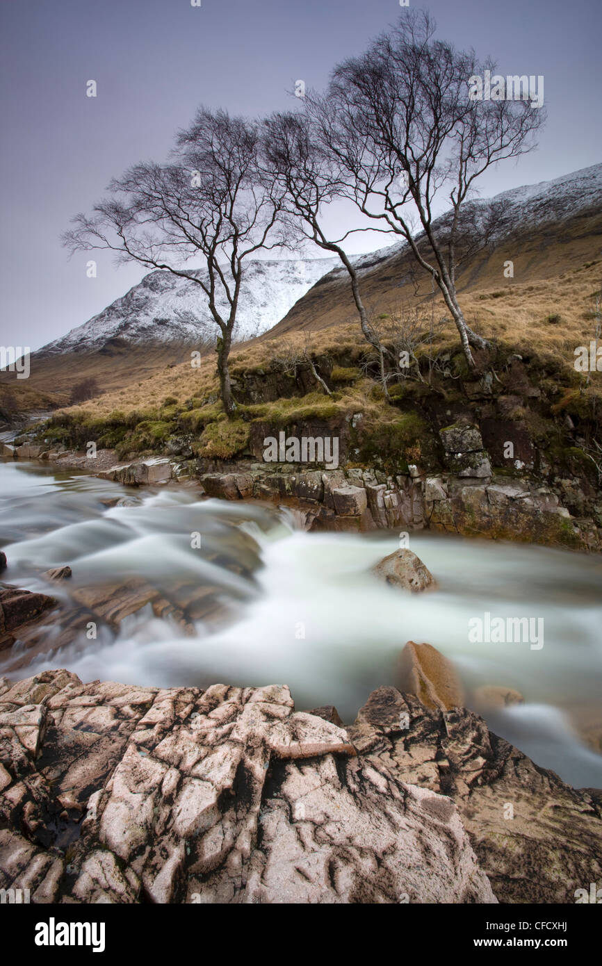 River Etive flowing through a narrow granite gorge, Glen Etive, Highland, Scotland, United Kingdom, Europe - Stock Image