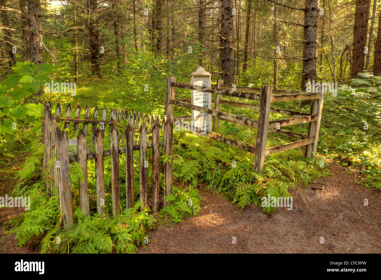 Old gravesites in Dyea, Skagway, Alaska, Canada. - Stock Image