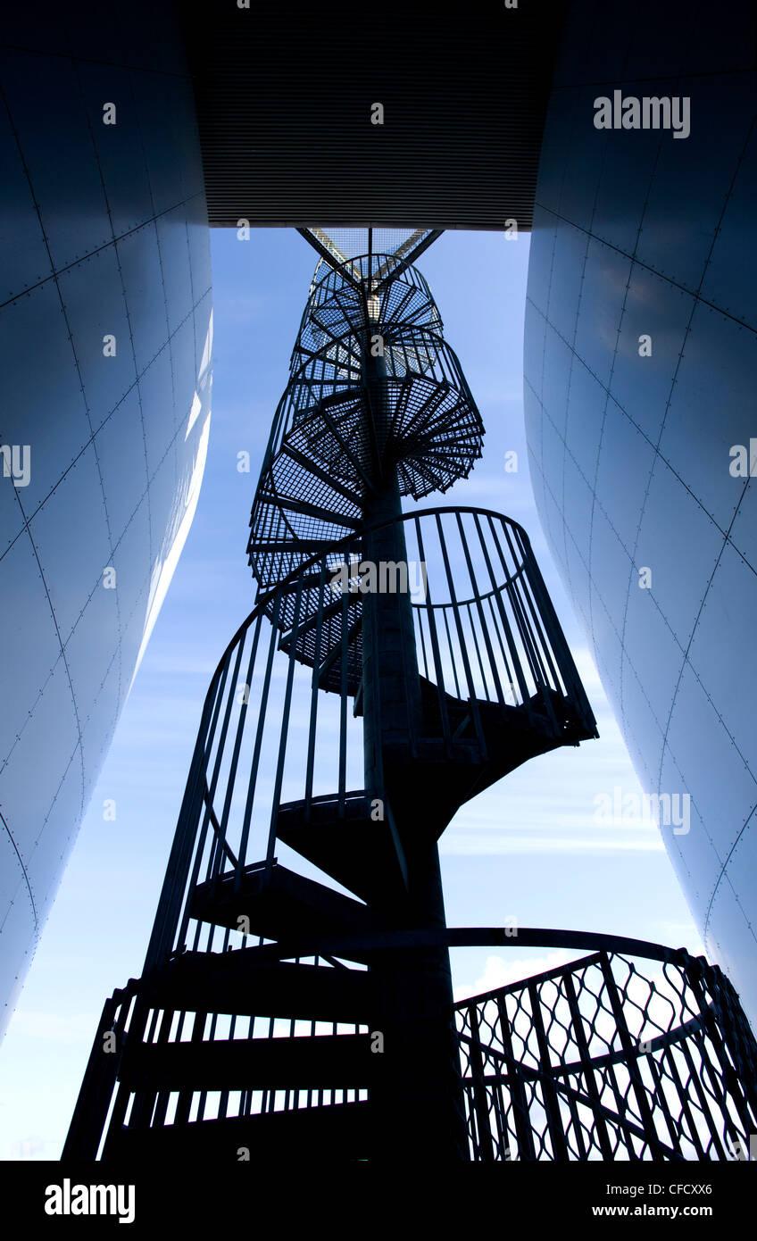 Spiral staircase outside Perlan, a modern,housing the Saga Museum, Reykjavik, Iceland, Polar Regions - Stock Image
