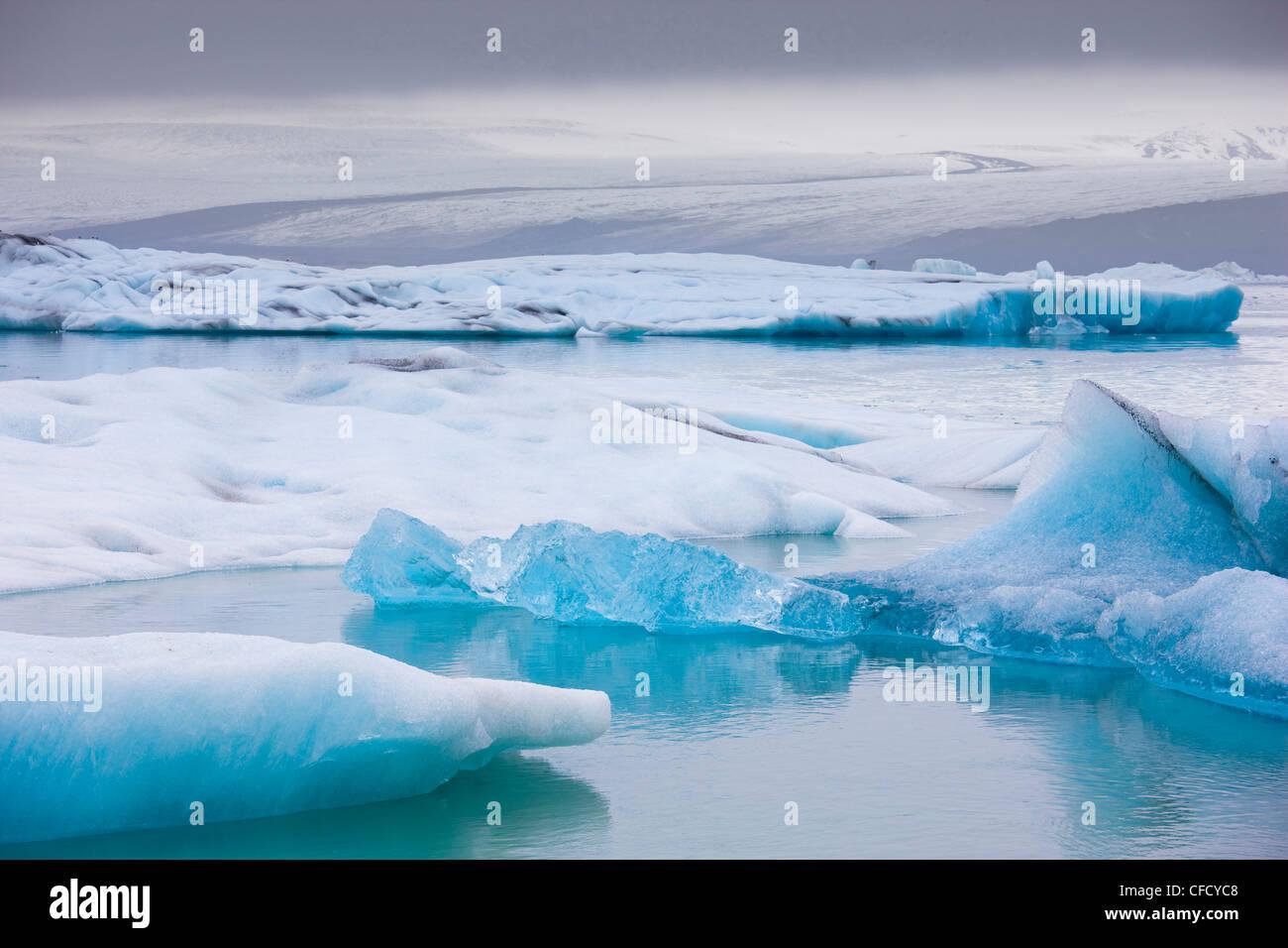 Icebergs,on the Jokulsarlon glacial lagoon, Iceland, Polar Regions - Stock Image