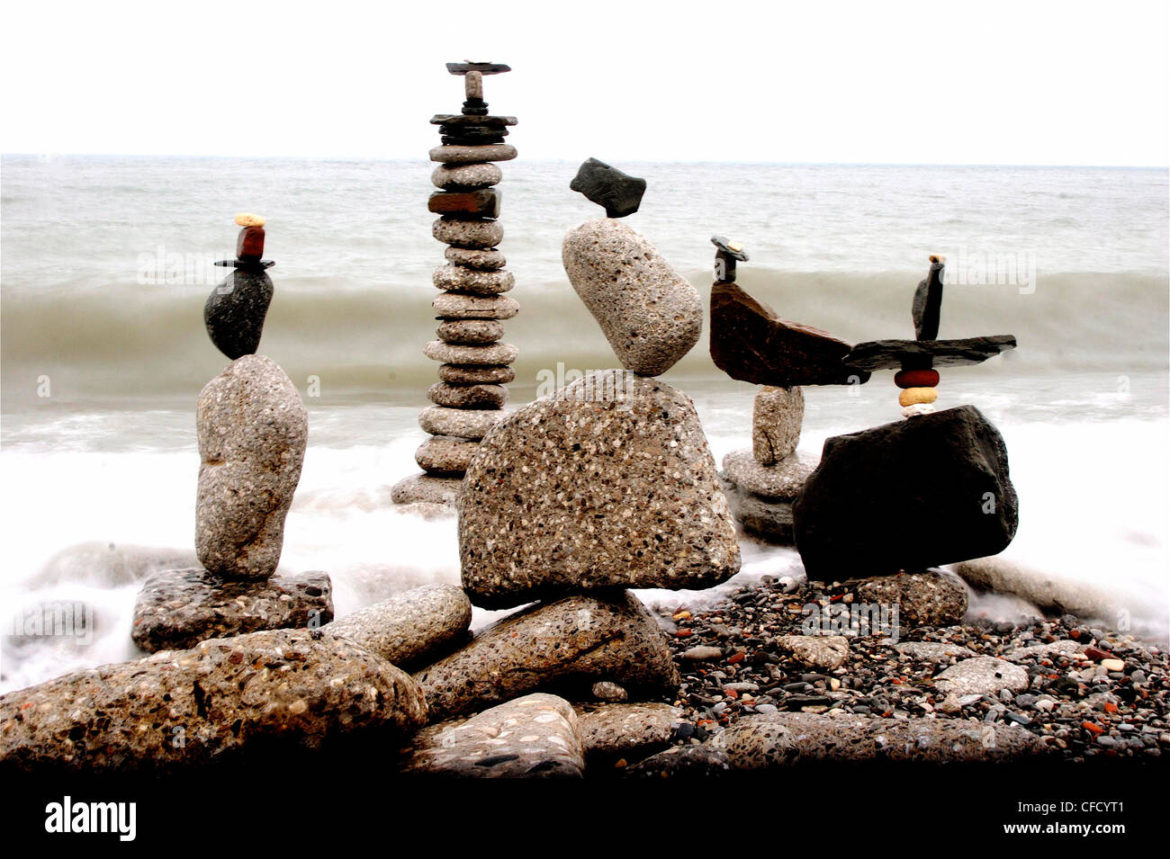 Balanced rocks, Colonel Samuel Smith Park, Lake Ontario, Toronto, Ontario, Canada - Stock Image