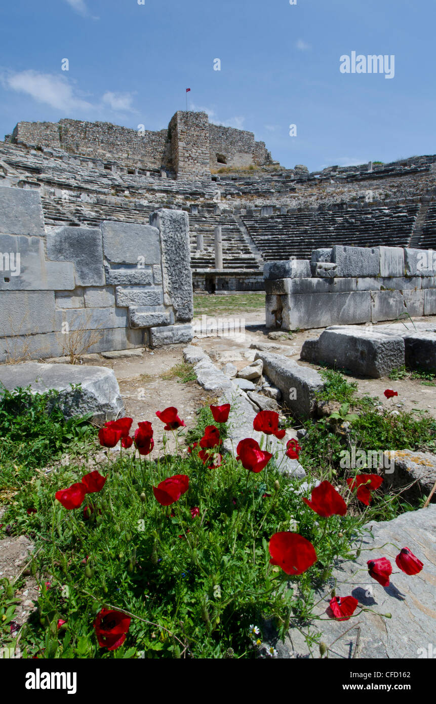 Amphitheatre at Miletus, an ancient Greek city on the western coast of Anatolia, Turkey. - Stock Image