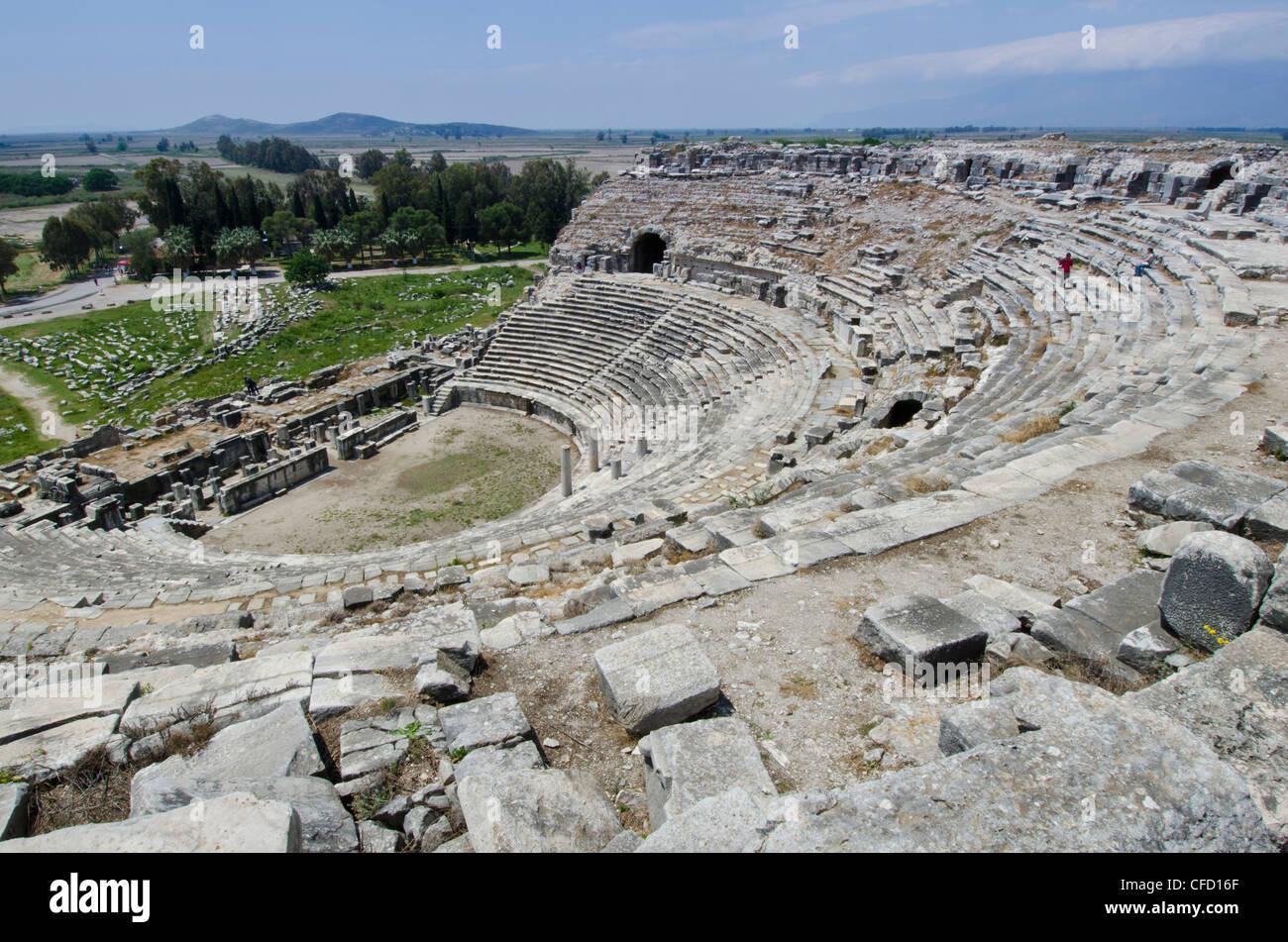 Amphitheatre at Miletus, an ancient Greek city on the western coast of Anatolia, Turkey - Stock Image