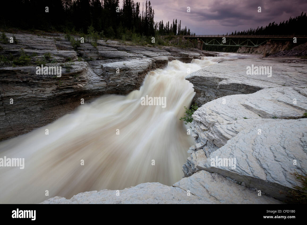 Sambaa Deh Falls on the Trout River in Sambaa Deh Falls Territorial Park in the Northwest Territories, Canada - Stock Image