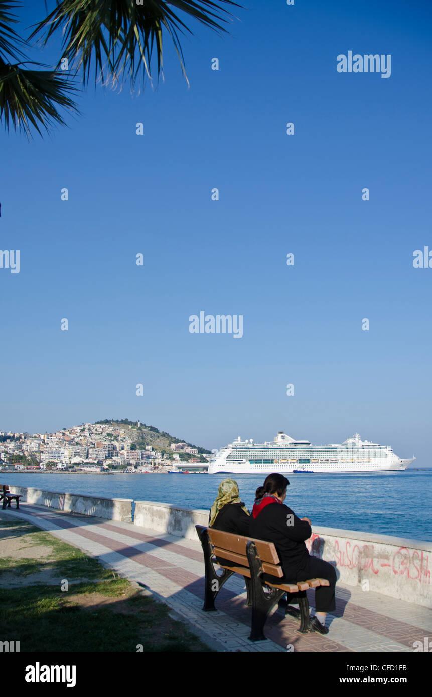 Cruise ship at Kuşadası, a resort town on Turkey's Aegean coast in Aydın Province - Stock Image