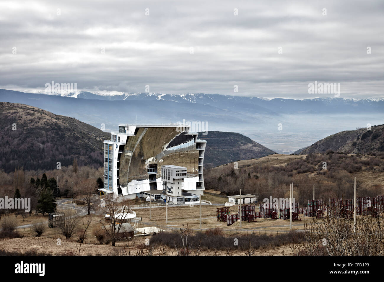 The solar furnace that can reach temperatures up to 3500 degrees C at Odeillo in the Pyrenees-Orientales, France - Stock Image