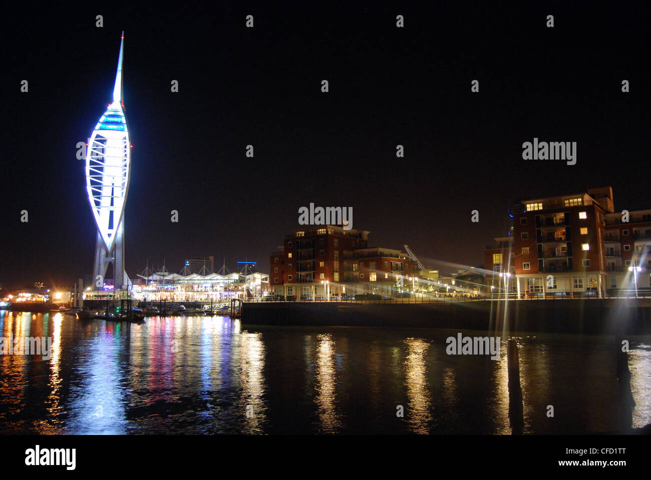 Gunwhalf Quays and Spinnaker Tower in Portsmouth at night. Stock Photo