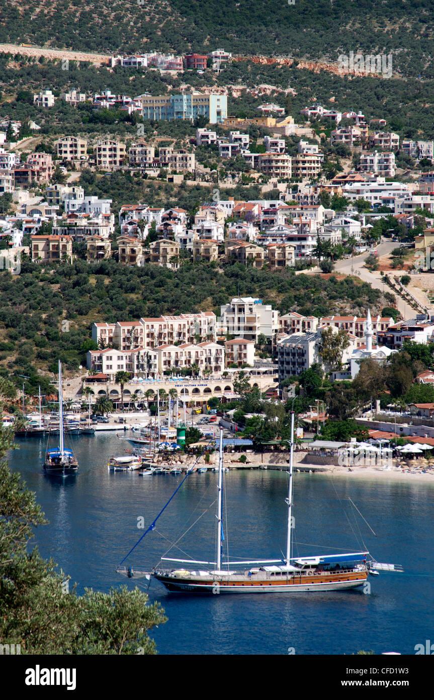 Gulet anchored at Kalkan, a popular tourist resort, Antalya Province, Anatolia, Turkey, Asia Minor, Eurasia Stock Photo
