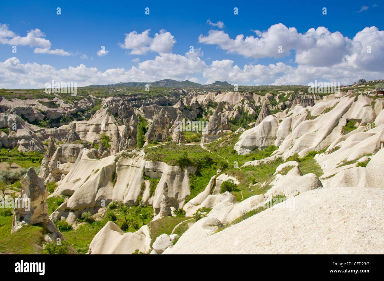 Landforms near Goreme, Cappadocia, also Capadocia, Central Anatolia, largely in Nevşehir Province, Turkey - Stock Image
