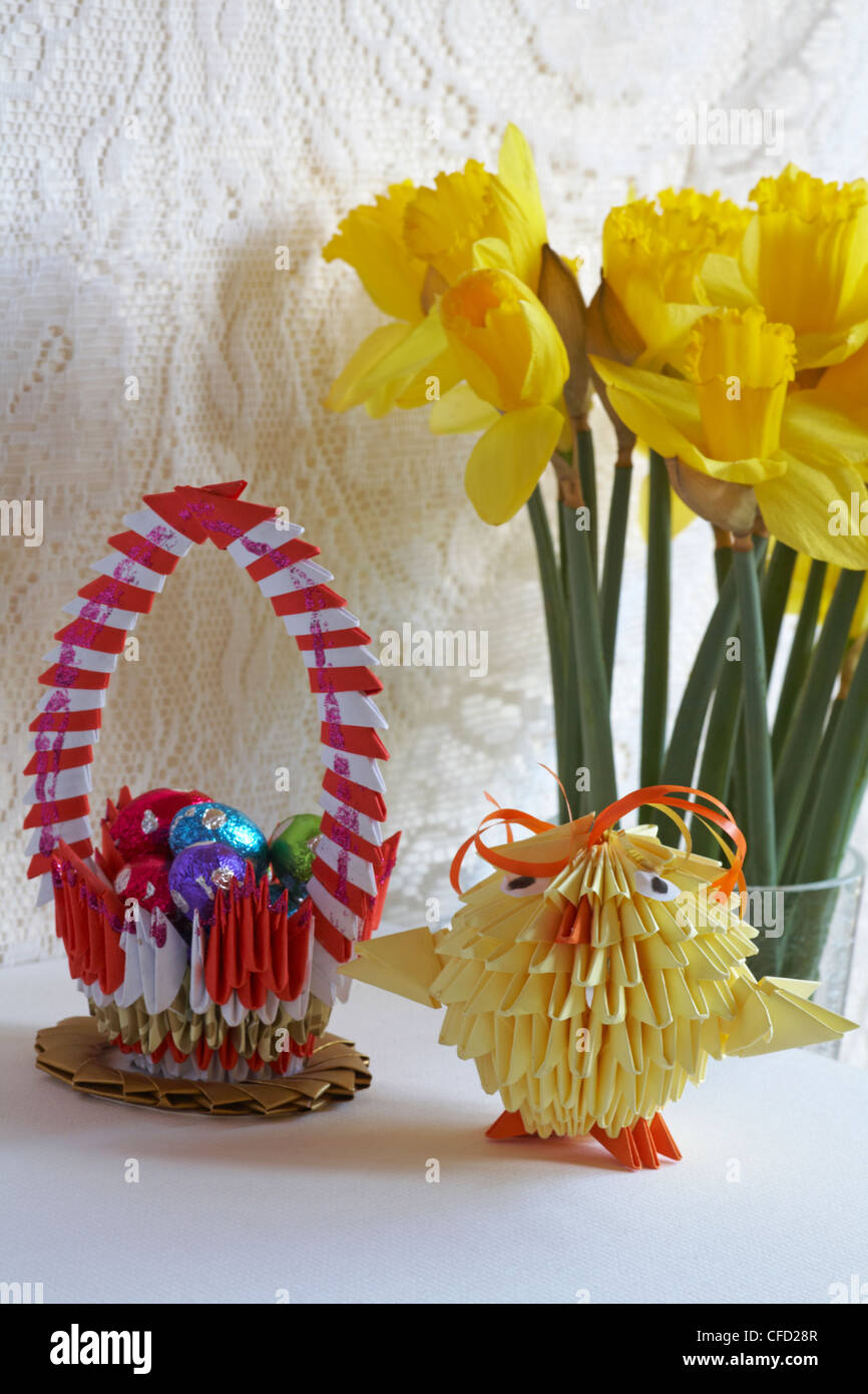 Origami Easter Chick Origami Basket With Mini Easter Eggs And Stock
