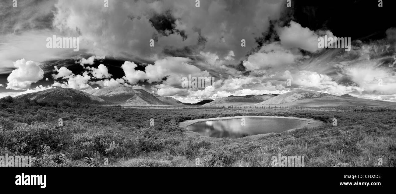 Black and white image of a pond and hills along the Dempster Highway in the Yukon, Canada - Stock Image