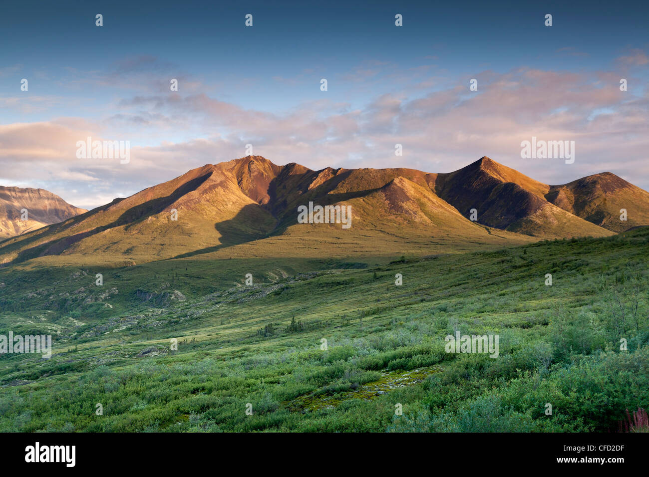 Mountains in the Cloudy Range as seen from the Tombstone Viewpoint in Tombstone Territorial Park, Yukon, Canada - Stock Image