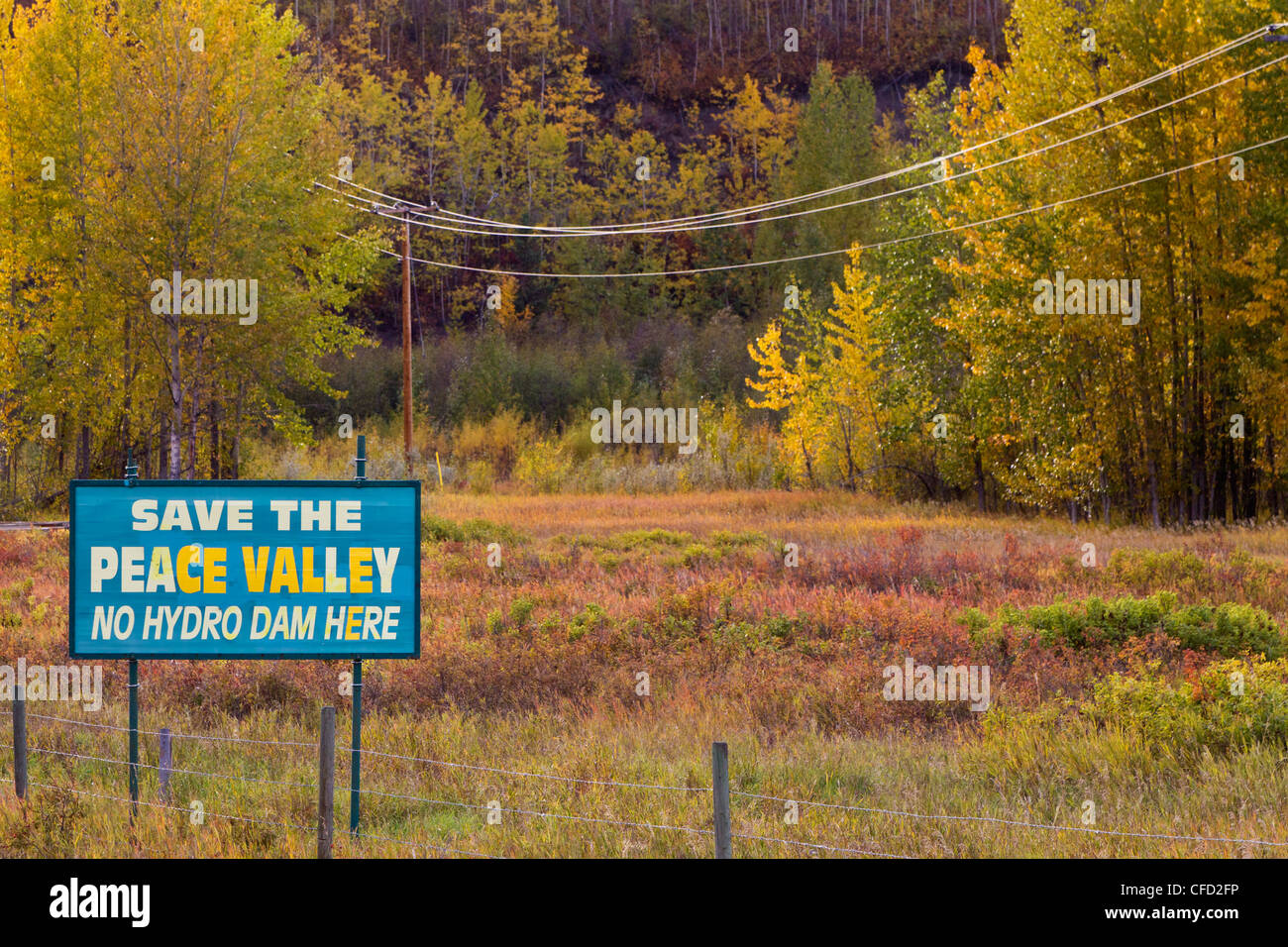 Sign protesting Site C dam proposed for the Peace River, along Highway 29 in the Peace Valley, British Columbia, Stock Photo