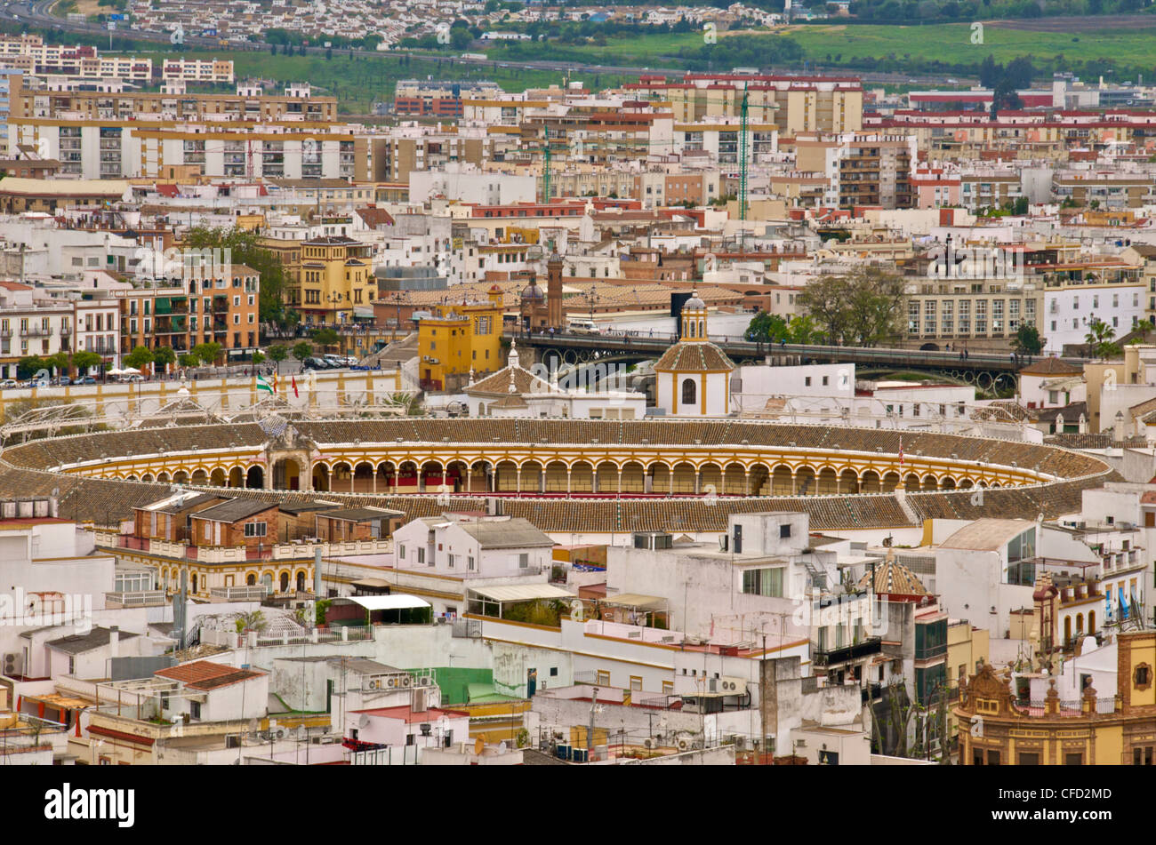 Maestranza bull ring and the historic center, seeen from the Giralda Tower, Seville, Andalusia, Spain, Europe Stock Photo