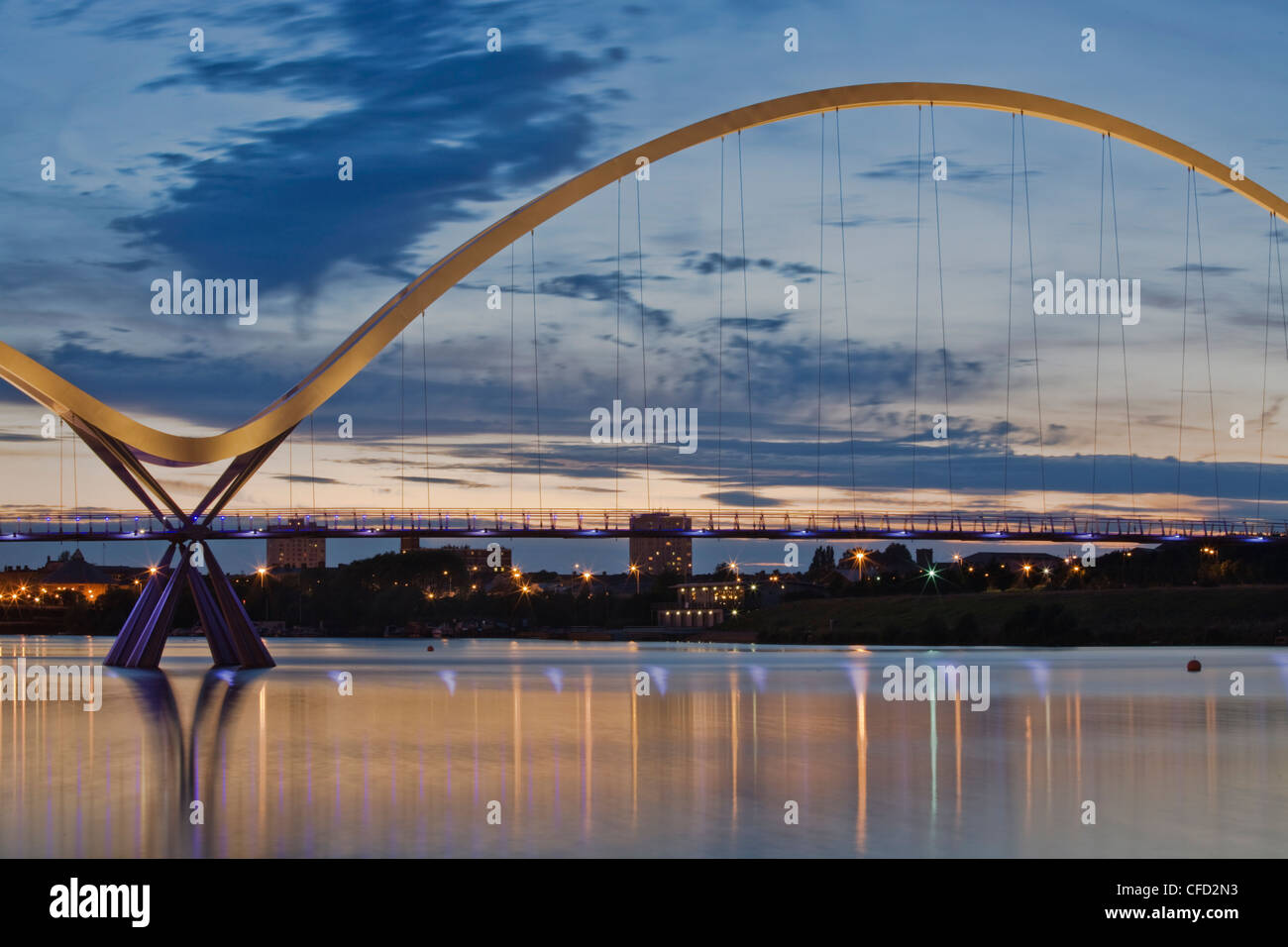 Infinity Bridge, built in 2009, over the River Tees, Stockton-on-Tees, County Durham, England, United Kingdom, Europe - Stock Image