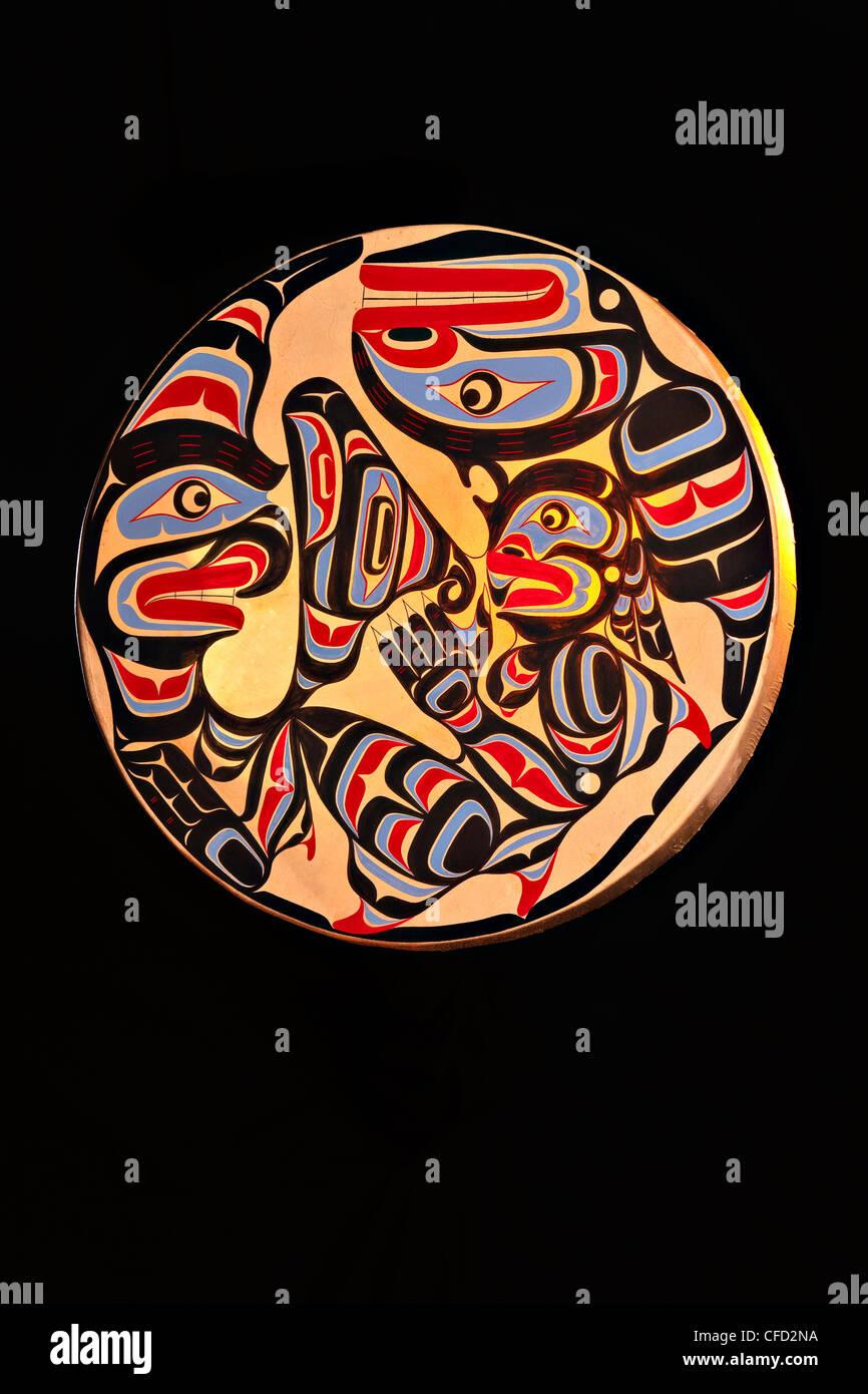 Native Art Drum Trevor Hunt featuring Wildman - Stock Image