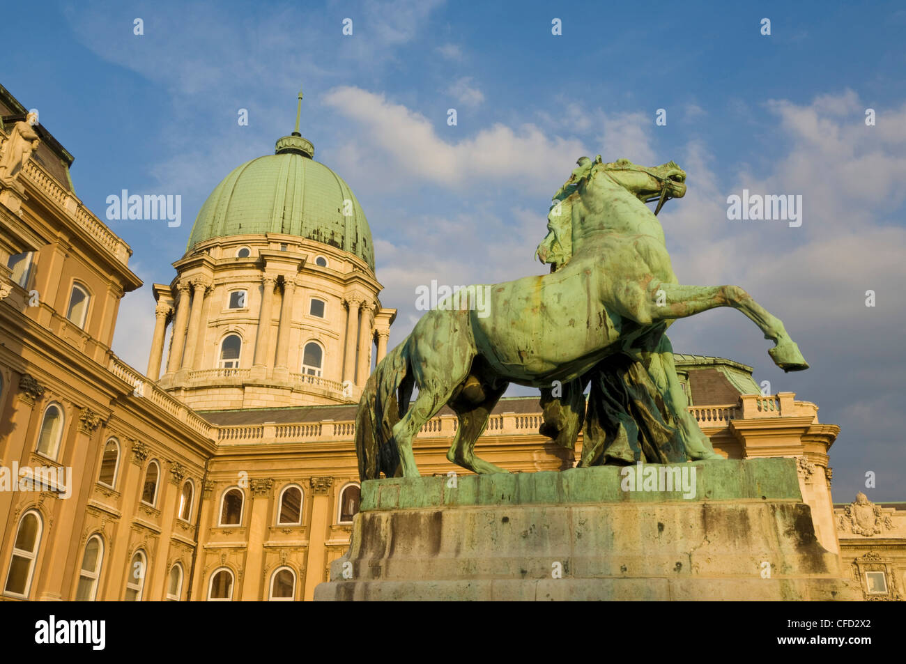 Rear facade of the Hungarian National Gallery, Castle District, Pest side of the Danube, Budapest, Hungary - Stock Image