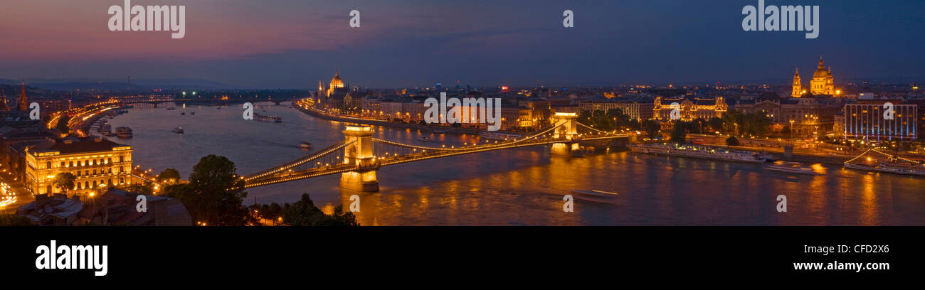 Panorama of the Hungarian Parliament and the Chain bridge (Szechenyi Lanchid) over the River Danube, Budapest, Hungary Stock Photo
