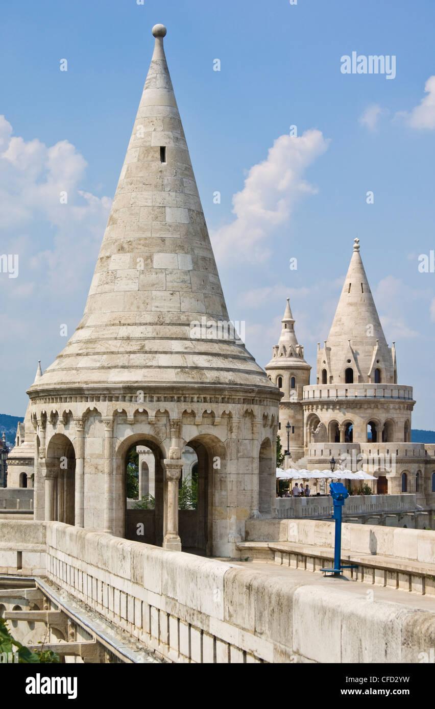 Towers and conical turrets of the Fishermen's Bastion, Halaszbastya, Budapest, Hungary - Stock Image