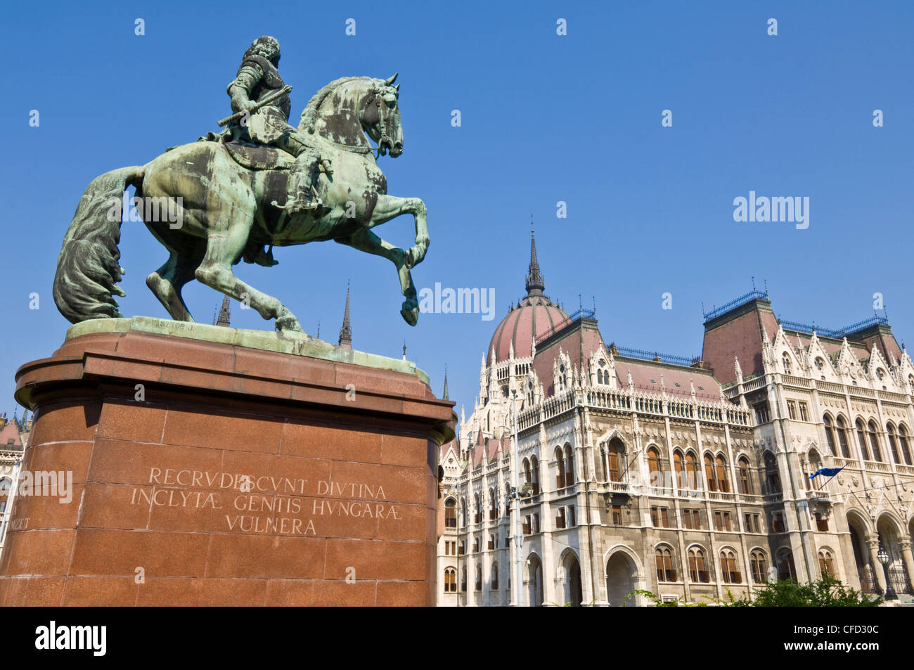 Hungarian Parliament,front entrance, Budapest, Hungary - Stock Image