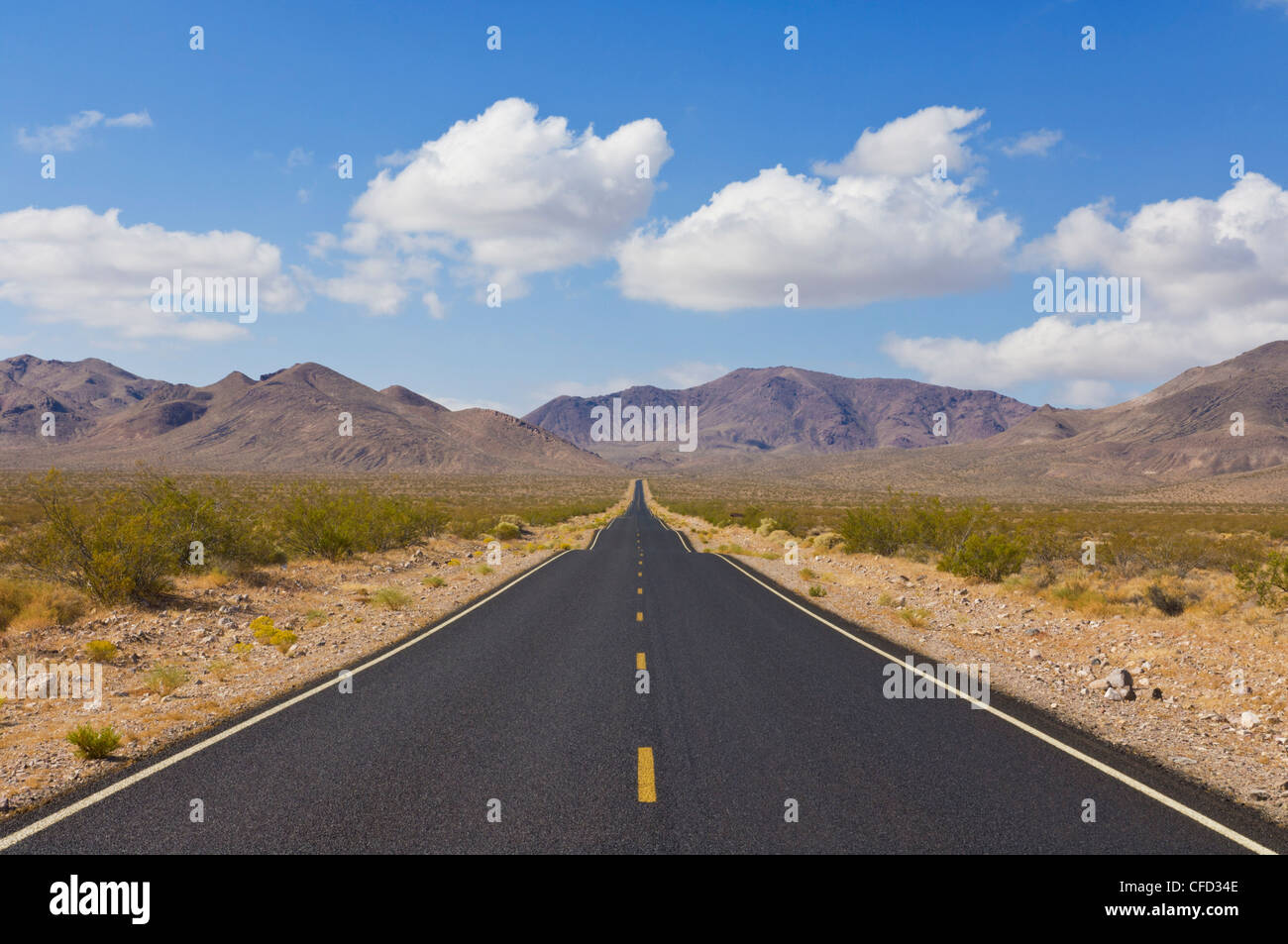 Daylight Pass road, Highway 374 from Beatty Nevada, Death Valley National Park, California Nevada border, USA - Stock Image
