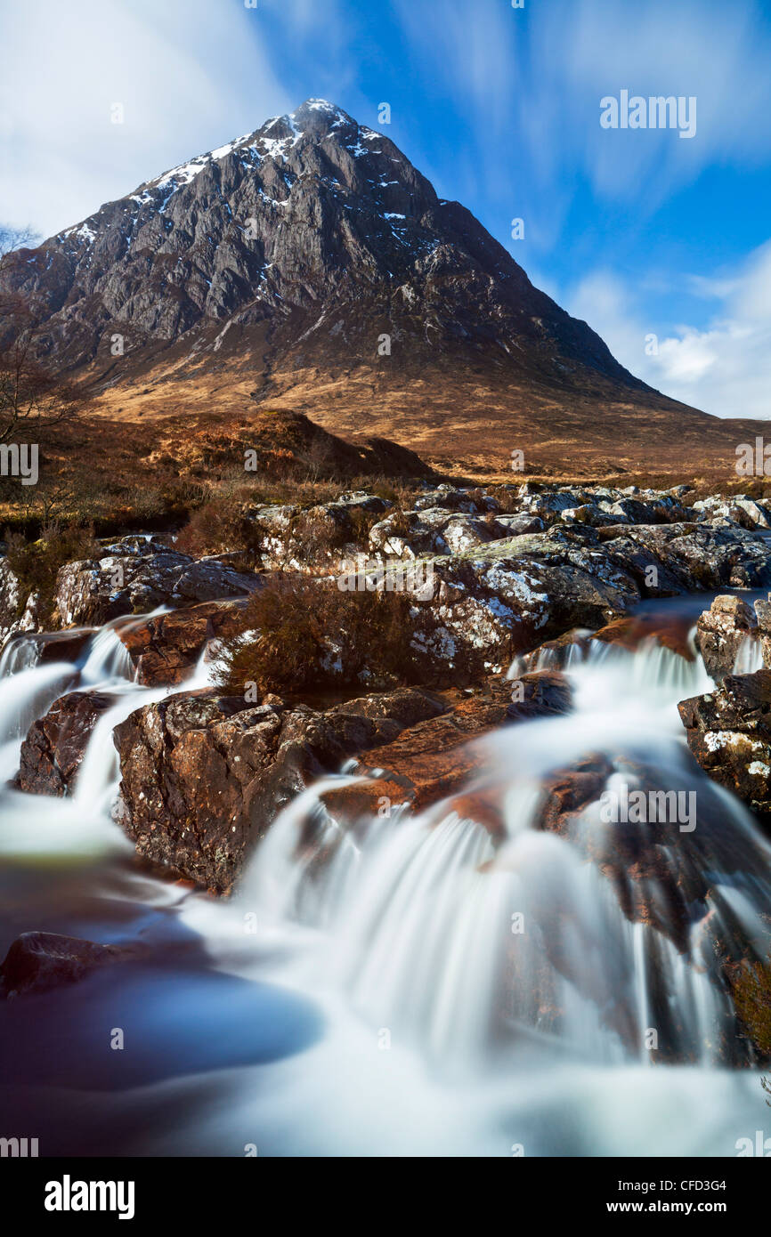 Buachaille Etive Mor and the River Coupall at the head of Glen Etive, Rannoch Moor, Highlands, Scotland, United - Stock Image