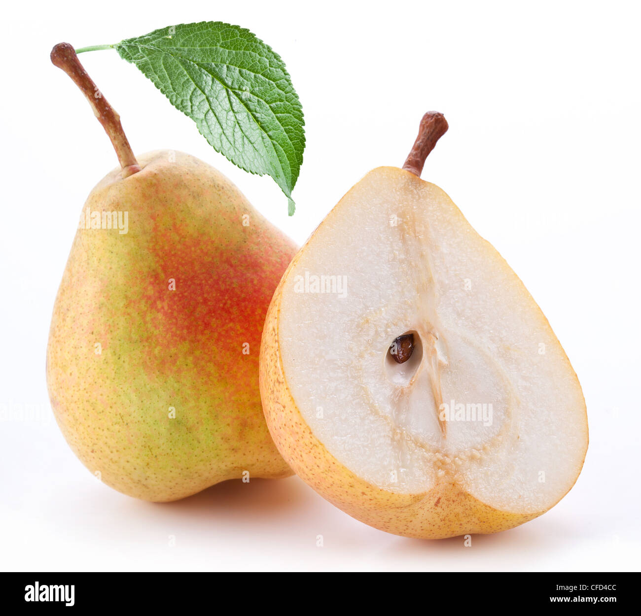 Ripe pears with leaf. Objects are isolated on a white background. - Stock Image