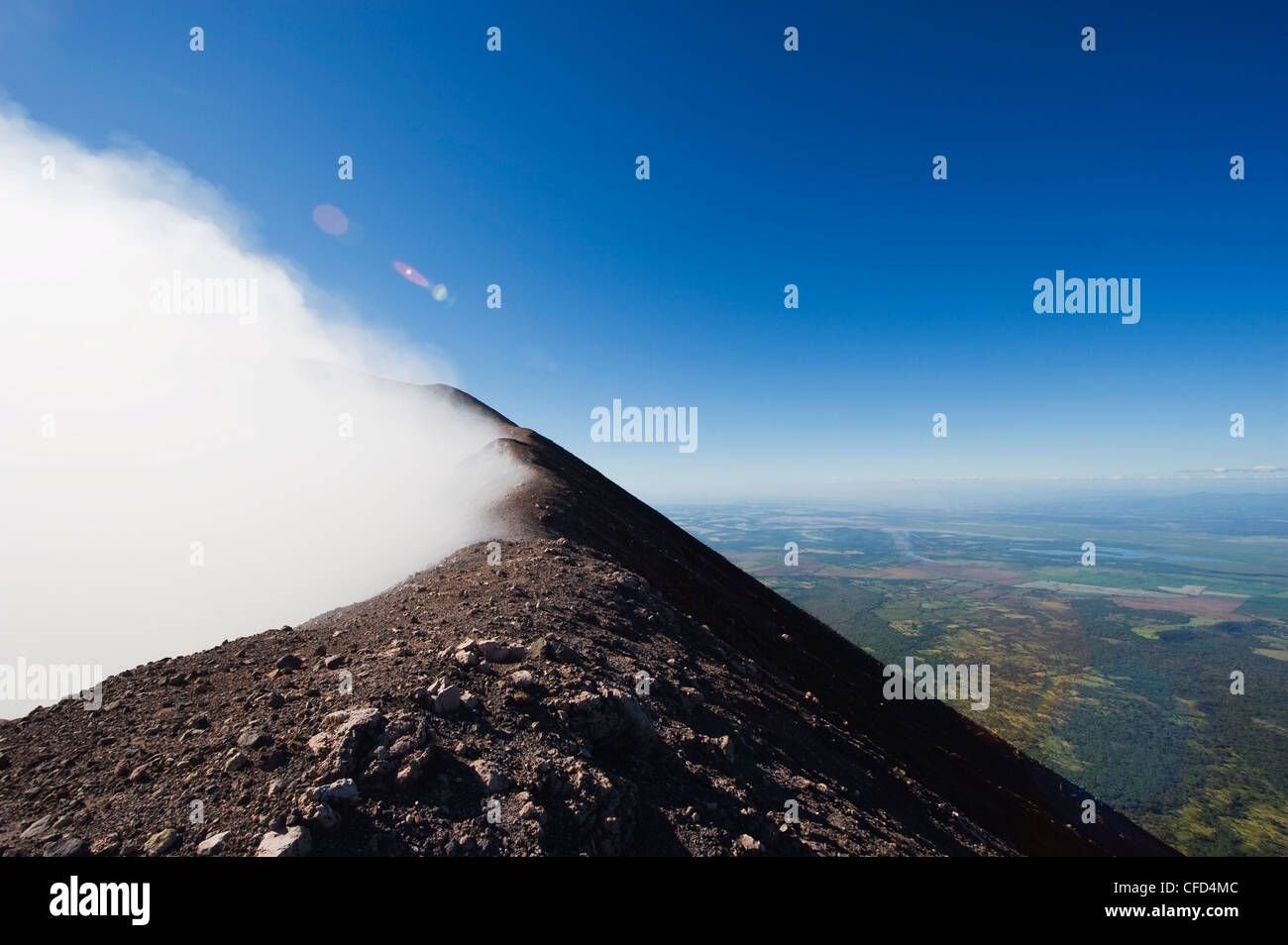 Steaming crater of Volcan de San Cristobal, 1745m, Nicaragua, Central America - Stock Image