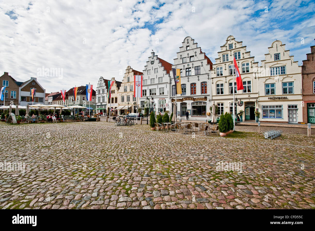 Historical houses at Friedrichstadt, Schleswig Holstein, Germany, Europe - Stock Image