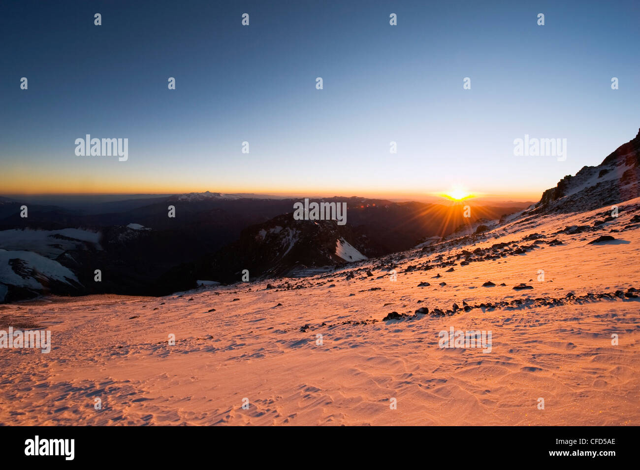 Sunrise, Aconcagua 6962m, highest peak in South America, Aconcagua Provincial Park, Andes mountains, Argentina, - Stock Image