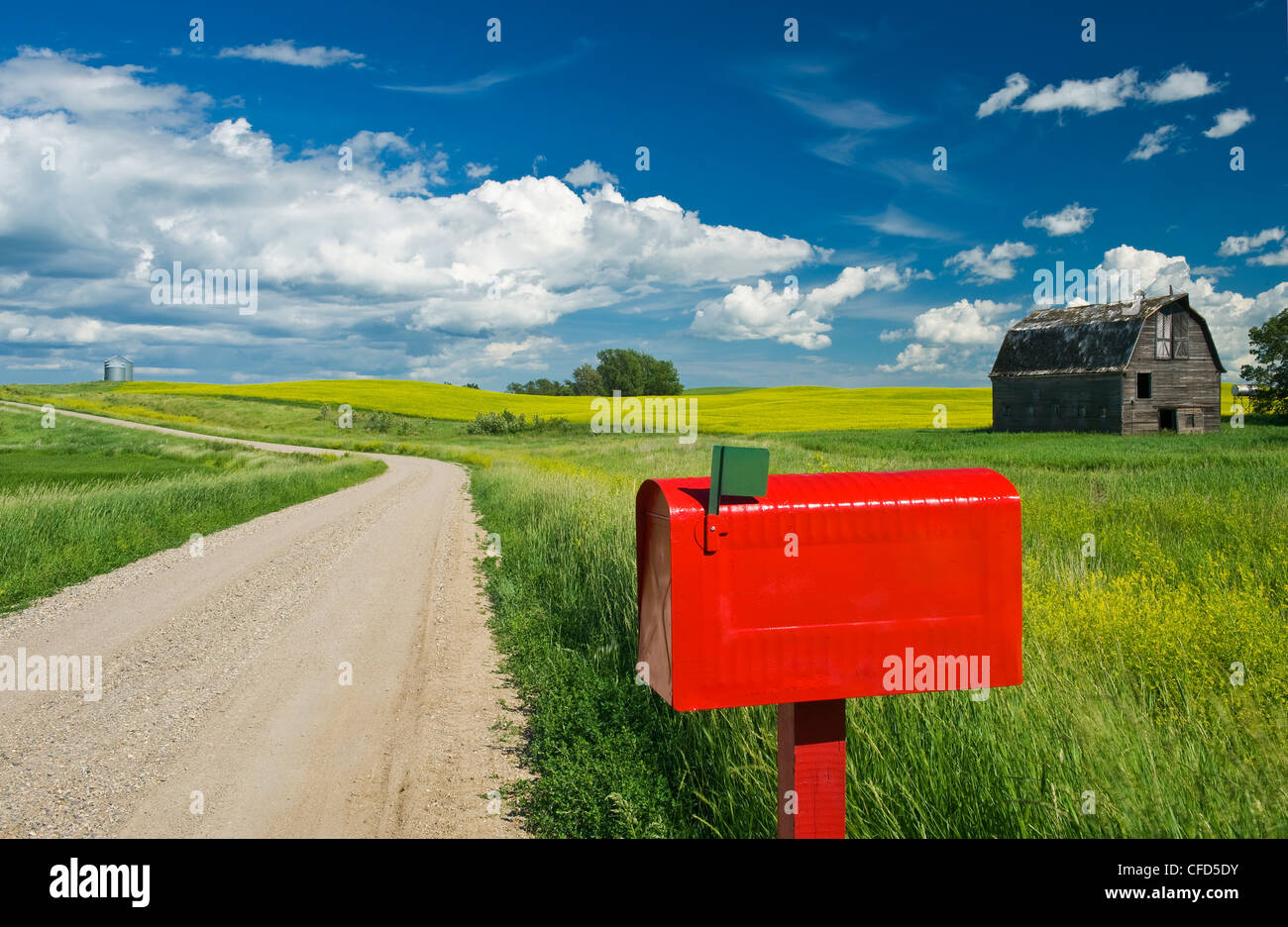 Mailbox along country road with old barn in the background, near Somerset, Manitoba, Canada, Stock Photo