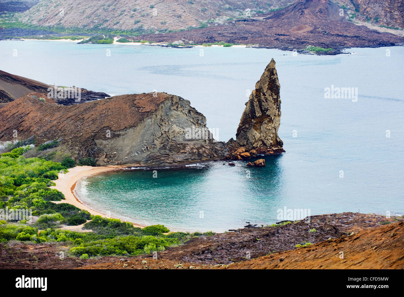 Pinnacle Rock, Isla Bartholome, Galapagos Islands, UNESCO World Heritage Site, Ecuador, South America - Stock Image