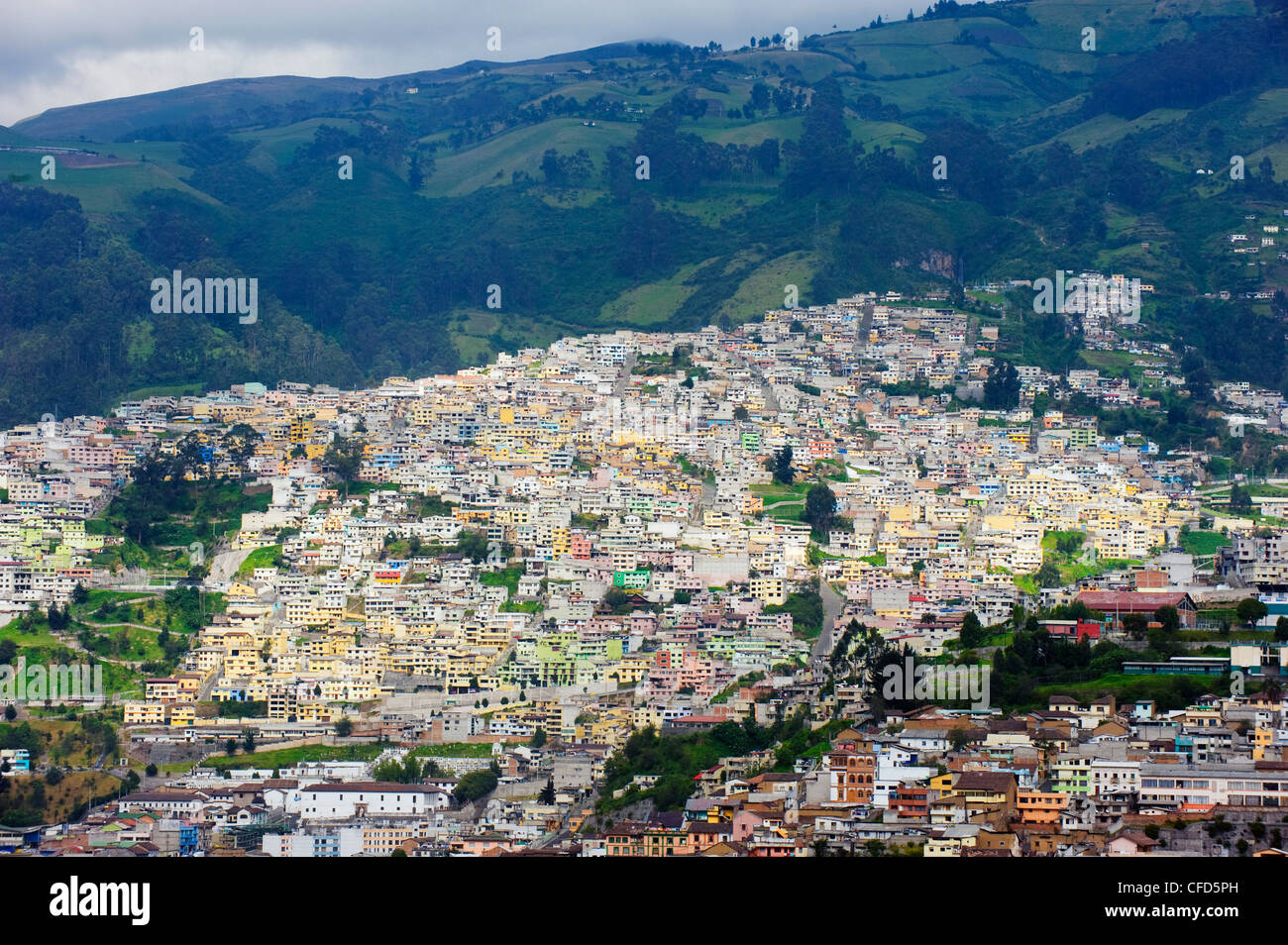 Colourful houses in old town, UNESCO World Heritage Site, Quito, Ecuador, South America - Stock Image